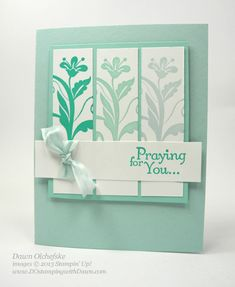 """Stampin' Up! Flowering Flourishes - COLOR CHOICE: I chose a set of blue monochromatic colors 131171 Bermuda Bay Ink 126982 Pool Party Ink 131181 Soft Sky Ink What colors would you use to create a """"cheery"""" card? Enjoy~Dawn O Homemade Greeting Cards, Greeting Cards Handmade, Homemade Cards, Card Making Inspiration, Making Ideas, Stamping Up Cards, Get Well Cards, Pretty Cards, Card Sketches"""