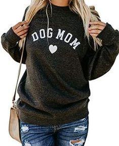 7fe93b3b3bb Dog Mom Womens Long Sleeve Cute Graphic Lightweight Sweatshirt