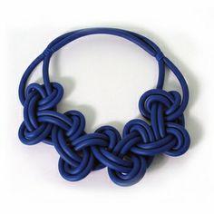 Rosanna Contadini: Neoprene Yarn Electric Blue Necklace