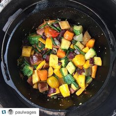 Repost @paulwages ・・・ in progress:100% of ingredientspurchased from the grant park farmer's market this morning. sweet peppers, garlic, onions, multi colored carrots, long beans, mountain rose potatoes, yellow and green summer squash, eggplant, lots of tomatoes and a heavy dose of GA olive oil. to be devoured shortly with fresh basil and a touch of condor's ruin cheese from @manyfoldfarm. all cooked outdoors on the big green egg. #crackinthesidewalkfarmlet #brightsidefarm #mayflorfarms