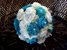 Turquoise and cream bridal bouquet Rustic Bridal Bouquets, Rustic Bouquet, Alternative Bouquet, Sola Flowers, Wedding Keepsakes, Bridesmaid Bouquet, Rustic Wedding, Turquoise, Cream