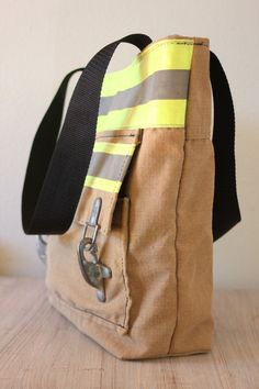 Recycled Firefighter Turnout Tote Bag with front pocket, carry all, bunker gear shopping bag, book bag 35 Firefighter Bar, Firefighter Crafts, Female Firefighter, Volunteer Firefighter, Fire Department, Fire Dept, Firemen, Firefighters Wife, Couture