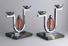 2 CANDELABRES ART DECO MODERNISTE 1930s/40s Art Deco Movement, Arts And Crafts Movement, Art Nouveau, Deco Interiors, Candle Sticks, Machine Age, Art Deco Lighting, Art Deco Furniture, Art Deco Era