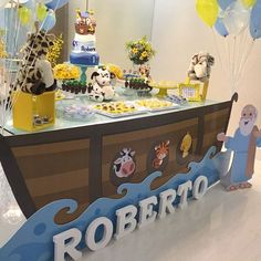55 ideas for baby shower ideas for boys themes noah ark first birthdays Noahs Ark Party, Noahs Ark Theme, Boy Baby Shower Themes, Baby Boy Shower, Baby Shower Decorations, 2 Year Old Birthday Party, 1st Birthday Parties, Shower Party, Baby Shower Parties