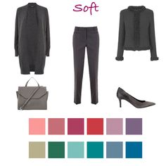 Charcoal grey looks expensive on Soft colouring especially when mixed with soft reds, pinks and teals.