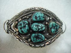 Navajo Old Silver Pawn Signed Turquoise by AardvarkCollectibles