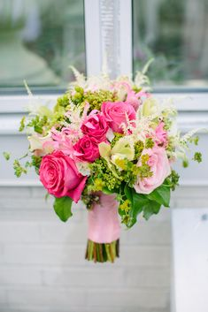 Flowers by Sheena Sementa, owner of Bella Fiori Floral & Event Design in New Jersey Photo by Love & Light Photographs www.bellafiorievents.com  hot pink, fuschia, light pink, blush, green, and whtie bouquet, centerpiece, ceremony, escort card, sweetheart, cake, wedding flowers