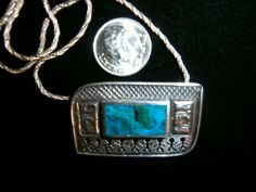VINTAGE STERLING SILVER W/ SEMI PRECIOUS STONE TRIBAL MOTIF PENDANT NECKLACE