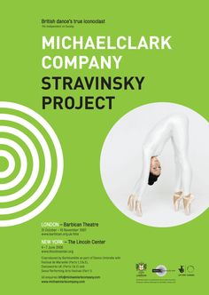 Malcolm Garrett's poster for the Stravinsky Project, the Michael Clark Company's dance show at the Barbican Theatre in London and the Lincoln Center in New York.