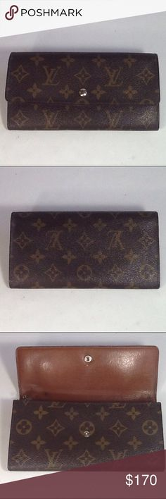 Authentic Louis Vuitton Sarah Long Monogram Wallet Leather had some stains and showed signs of used inside the wallet. The canvas us good. The wallet was made in France with a date code 873-AN. The dimension is 4, 7 and 1. Louis Vuitton Accessories