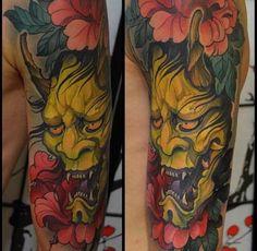Devil with flower Tattoo   #Tattoo, #Tattooed, #Tattoos