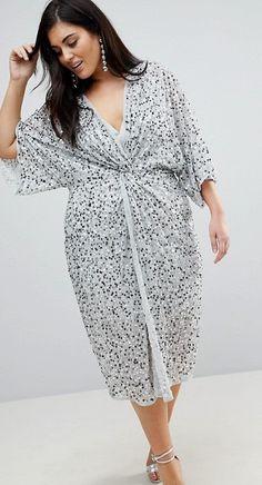 c242a1e689b Plus Size Sequin Kimono Dress  Plussize Sequin Kimono