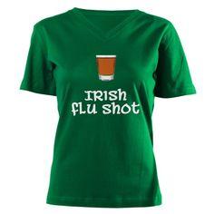 Irish Flu Shot Women's V-Neck Dark T-Shirt