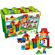 Give your child hours of entertainment with the LEGO DUPLO Deluxe Box of Fun. This set makes the perfect introduction to LEGO building fun with a huge range of classic and special DUPLO bricks. Lego Duplo, Lego Toys, Duplo Box, Sports Games For Kids, Toys For Boys, Kids Toys, Building Blocks Toys, Lego Building, Legos