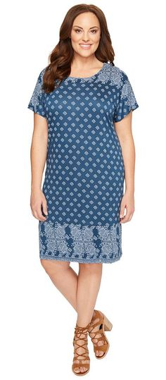 Lucky Brand Plus Size Tee Dress (Navy Multi) Women's Dress - Lucky Brand, Plus Size Tee Dress, 7Q90177-400, Apparel Top Dress, Dress, Top, Apparel, Clothes Clothing, Gift, - Fashion Ideas To Inspire