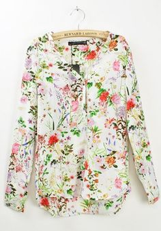 Multicolor Floral V-neck Long Sleeve Chiffon Blouse - Trends