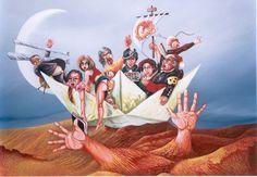 Narrenschiff - Malerei,  60x80 cm ©2013 von Peter Wall -                            Zeitgenössische Malerei, Narren, Schiff, Gesellschaft, Zusammenleben, Verhältnisse, Macht, Seilschaften, Abhängigkeiten