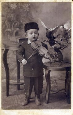 +~+~ Antique Photograph ~+~+  Adorable little Fiddler.  1898