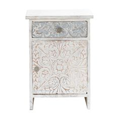 Carved solid mango wood Indian bedside table in white W 42cm Namaste