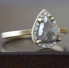 Alexis Russell <<>> One of a Kind Grey Diamond Ring with Pave Halo