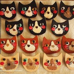 * . ぶさかわにゃんこブローチ^ↀᴥↀ^ 表情いろいろ♩ . いつも黒い子が人気なので多めに . #革 #革小物 #レザー #レザークラフト #ハンドメイド #ミニチュア #アクセサリー #ねこ #ネコ #猫 #ブローチ #leather #leathercraft #handmade #handcrafted #miniature #accessories #cat #cute #kawaii #ronron