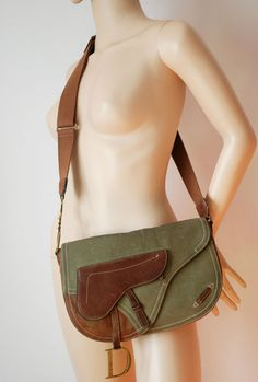 5bb3ae6dd539 CHRISTIAN DIOR canvas  amp  leather large saddle messenger bag cross body  long strap in Clothes