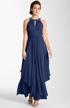 Kelly - this one is really pretty! Eliza J Embellished Tiered Chiffon Halter Gown available at #Nordstrom