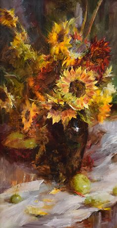 Sunflowers and Green Apples by Laura Robb Oil ~ 30 x 16