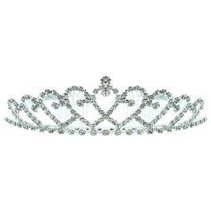 Kate Marie 'kandi' Rhinestones Crown Tiara Headband in Silver