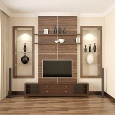 TV Unit as sophisticated & stylish as this will definitely make you fall in love with it! Living Room Partition Design, Room Partition Designs, Living Room Tv Unit Designs, Tv Unit Interior Design, Tv Unit Furniture Design, Furniture Ideas, Modern Tv Cabinet, Tv Unit Decor, Tv Decor
