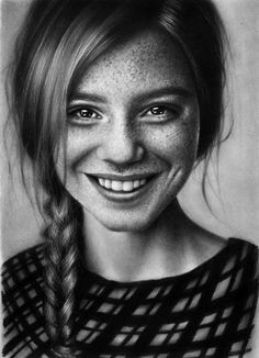 Kris_pic, Prismacolor Pencils {figurative art beautiful female head smiling young woman freckle face portrait drawing} https://www.instagram.com/kriss_pic/