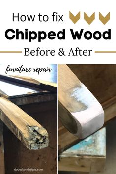 Don't pass up those curbside finds because of wood damage. I can teach you how to repair that chipped wood furniture with a few simple products. Just like new again and ready for paint.  #furniturerepair #furniturerestoration #furnitureredos #furniturerescue #furnitureprojects Refinish Wood Furniture, Diy Furniture Projects, Refurbished Furniture, Repurposed Furniture, Furniture Makeover, Chair Makeover, Repurposed Items, Diy Projects, Before After Furniture