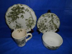 16 PC Maxcera Green White Toile Easter Dinnerware Plates Bowls Mugs Rabbit | eBay