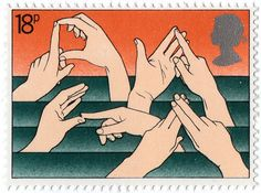 "The British stamp shows the finger spelling alphabet of British Sign Language. The four signs represent from left to right, ""deaf. British Sign Language, Postage Stamp Art, Deaf Culture, Penny Black, Stamp Collecting, Mail Art, My Stamp, Great Britain, At Least"