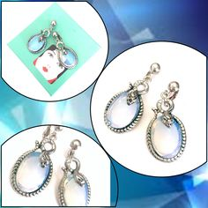 Silver Snake Dangle Earrings  Measure: Approx. 2 1/8  Mark: None  Condition: Very Good vintage condition  Wow these are such great earrings!  - Slithering silver tone snake on each earrings  - The snakes are coiled right over the top of each stone  - The stones are beautiful opaline glass cabochons  Wonderful unique piece of vintage snake jewelry - what a find!       Please do keep in mind that any vintage and/or antique merchandise may have some degree of visible wear or patina. Th...