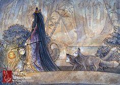 Silent Crossing / Fox Girl Kitsune Yokai / by TeaFoxIllustrations