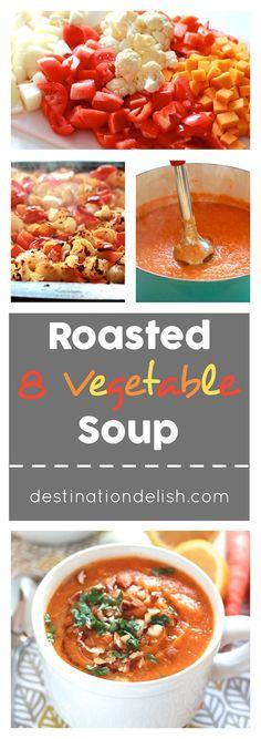 Roasted 8 Vegetable Soup (Vegan, Gluten-free)
