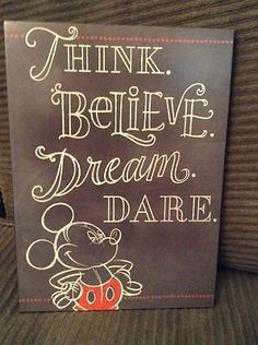 NEW HALLMARK DISNEY BLACK THINK DREAM BELIEVE MICKEY MOUSE SIGN