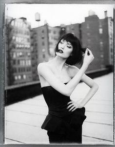 * black and white photo of shalom harlow.