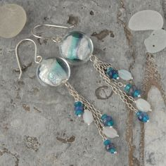 Sterling silver earrings with murano glass, neon apatite, sapphire and opals