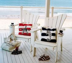 beach chairs, pillows and white deck ~ love adirondack chairs, but would use sand & another color for pop...