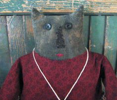 Primitive Black Cat Doll by PrairiePrimitives on Etsy, $85.00