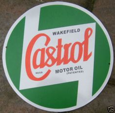 Castrol oil sign, including their old typeface. Initially I was thinking about matching some vintage typography to the minimalistic, geometrical forms for the logo for my client, but definitely he wanted something modern and simple. Oil Company Logos, Castrol Oil, Oil Image, Old Car Parts, Garage Signs, Motorcycle Garage, Kustom Kulture, Gas Pumps, Old Signs