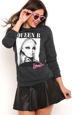 Deb Shops Long Sleeve Fleece Sweatshirt with Queen B Barbie Screen $13.00