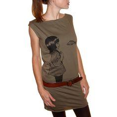 Underwater Kate tshirt dress  ecofriendly black by NYILLUSTRATION, $28.00