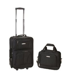 Rockland Rockland Rio Expandable Carry On Softside Luggage Set, Black - The Home Depot Carry On Luggage, Luggage Sets, Travel Luggage, Travel Bag, Travel Style, Rockland Luggage, Skate Wheels, 5 D, Traveling By Yourself