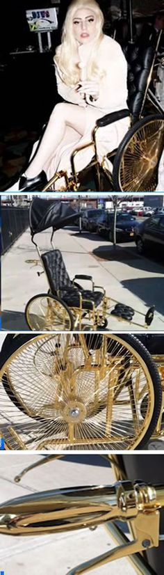 "Lady Gaga's new wheelchair revealed... Who says having hip surgery can't be superglamorous? Since being sidelined and canceling her Born This Way Ball Tour, Lady Gaga is rolling around in style … in a 24K-gold-plated wheelchair! Dubbed ""The Chariot"" by designer Ken Borochov, of the luxury brand Mordekai. The custom ride features tufted calf leather, a removable leather canopy, and gold-plated wheels and hardware. What do you think?"