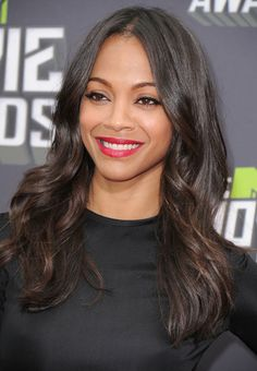 Zoe Saldana looking hot in a bright red lip at the MTV Movie Awards.