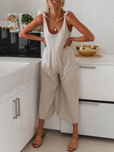 Halter Jumpsuit, Cotton Jumpsuit, Summer Jumpsuit, Summer Outfits, Cute Outfits, International Clothing, Clothing Size Chart, Overall, Cotton Style