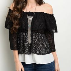 Breathtaking lace off shoulder layered blouse! Off shoulder design with 3 qtr bell sleeves - pretty lace Ruffles and white hemline- beautiful! Tops Blouses